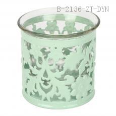Round Colorful Hollow Carve Patterns Candle Holder Candlestick