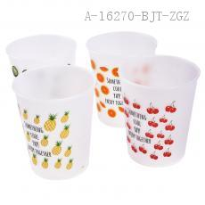 AX1359 Lovely Cherry Frosted Transparent Plastic Trash Can Waste Bins