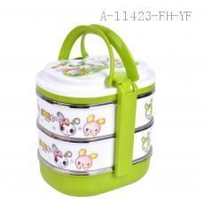 Stackable four tier bento lunch box with handle