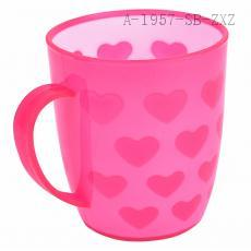 heart prainting Toothbrush Holder with handle Tooth Mug Toothpaste Cup