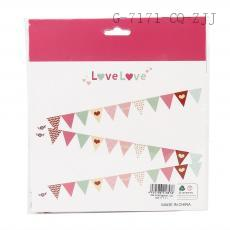 Colorful Triangle Flags with Loving Heart (12 pcs