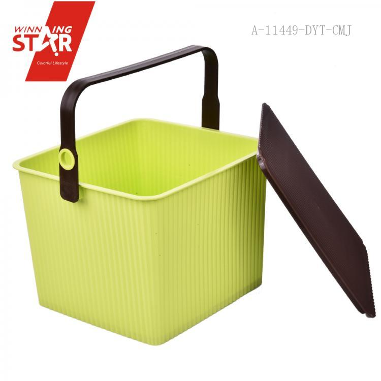 3ecbe8212331d High Quality multi-purpose torage Buckets Plastic Square Storage Buckets  with Lid and Handle. Hover to zoom