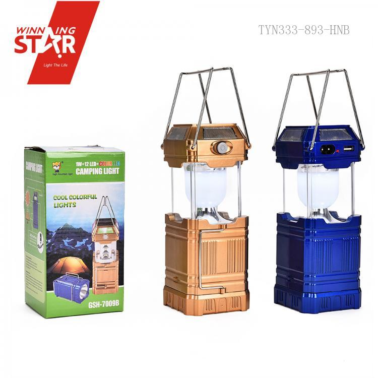 GSH 8009A,Folding 6+4+1 LED Lights Solar Rechargeable Lamps Lantern With  USB Port For Camping