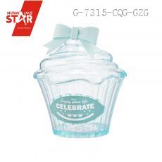 AX1486 Transparent Pastry Cake Shape Bowknot Saving Pot Piggy Bank Money Box