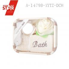 Rectangle Bathroom SIX-PIECE With Sponge Bath Flower Back Rubs Towel 8-shaped Grinding Feet Stone Comb Mirror