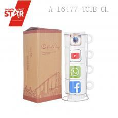 A111-52 2Facebook Stacked Cup 4pcs/set 26*8cm