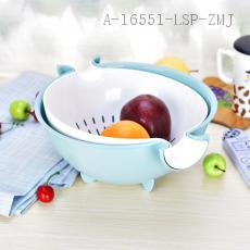 XJ6604 Fashionable Fruit Vegetable Drain Basin with 2 layers 29.5*26*12.5cm