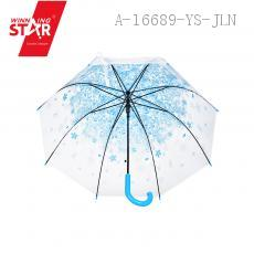 228 Cherry Blossom Pattern Transparent Long-handle Umbrella 59CM*8K