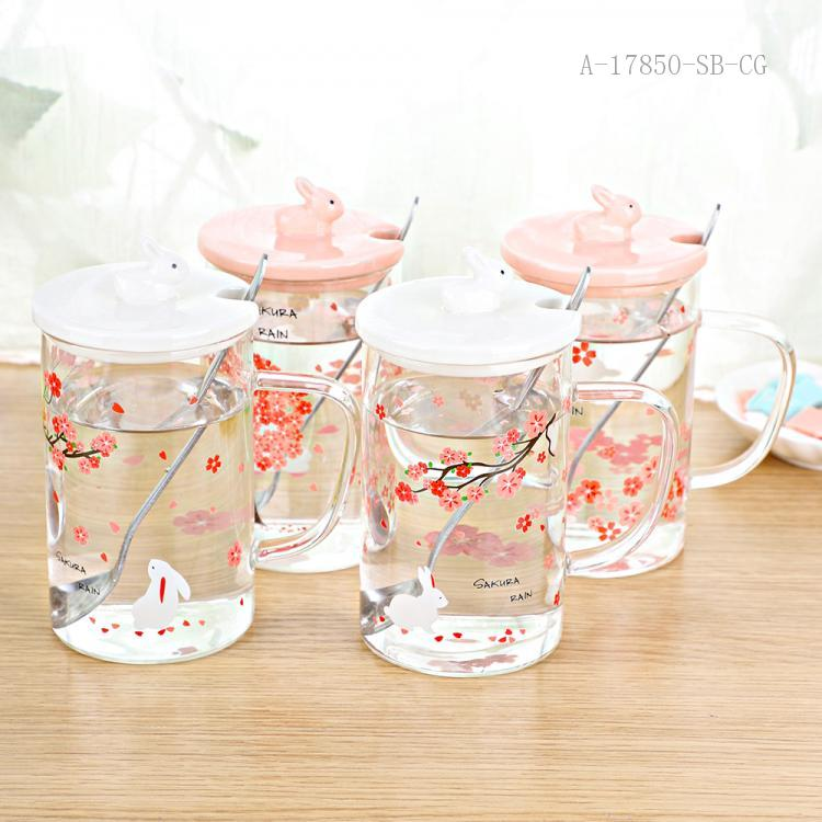 HD-J1003 Plum Blossom Pattern Glass Cup 11.5*8*13.4cm 450ml