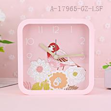MHT652B Square Birds Pattern Clock 12.1*4.0*12.1cm