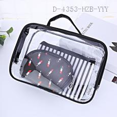 PVC Cosmetic Bag 3pcs/set 24*17*7cm pu+pvc