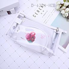 Transparent Cosmetic Bag 3pcs/set 30*15*9cm pu+pvc