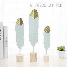 Metal Feather Ornaments Three-piece   L:5.5*5.5*36CM  M:5*5*29CM  S:4*4*24CM  paper pack-ups