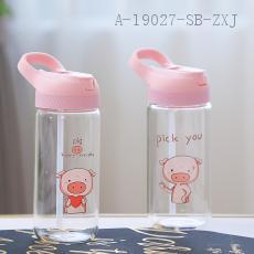 19002  Piglet Straw Portable Glass  Color Box  20*7cm  450ml
