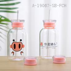Piglet Straw Glass  Color Box  15*7cm