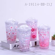 F1981E  Cherry Blossom Push cover Ice Cup  16*10*6.5cm  450ml