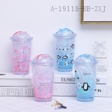 F1981D  Penguin Pig Push-Pull Ice Cup  16*10*6.5cm  450ml