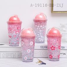 F18828C  Cherry Blossom Double Covered Ice Cup  20*6.5*9.5cm  450ml