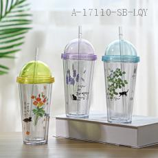 AP1346  Flower Cat Double Cup  370ml  9.5*9.5*20.5cm