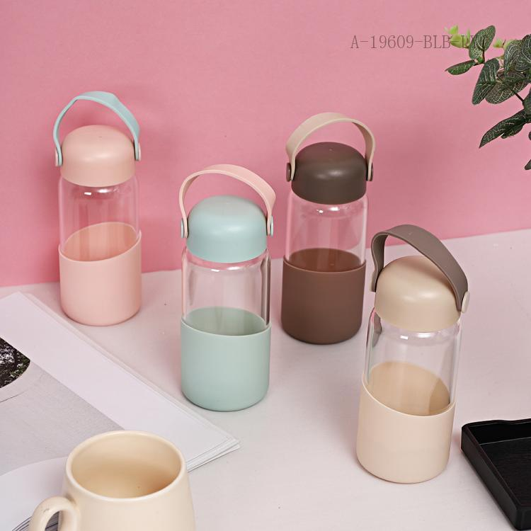 Summer Handle Glass Cups  Paper Package  360ml  16*6.5cm