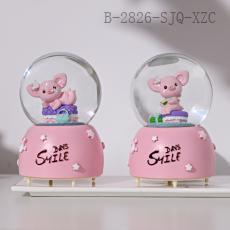 JC5K104  Creative Beauty Pig Crystal Music Box  9*12cm