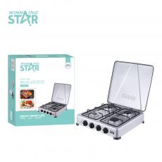 ST-9611 New Arrival Winning Star 4 Burner Safety Valve Aperture φ0.7mm*1+φ0.6mm*2φ0.5mm*1, Cold-Rolled Plate Sprayed with Plastic. Die-Cast Aluminum Seat + enamel fire cover (1 large 2 medium 1 small), Tube: φ11.5*0.5,Hot Sale Wholesale in